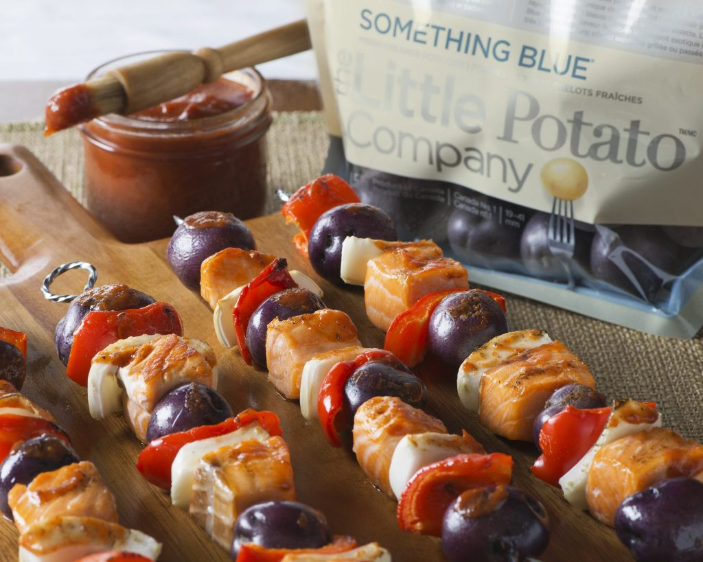 Something Blue Salmon Skewers with Fennel and Peppers - The Little Potato Company