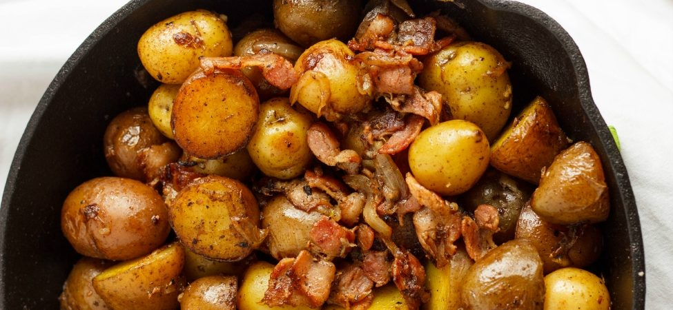 Pan Fried Creamer Potatoes and Bacon