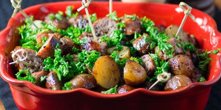 Simple Barbecue Potato and Sausage Appetizer