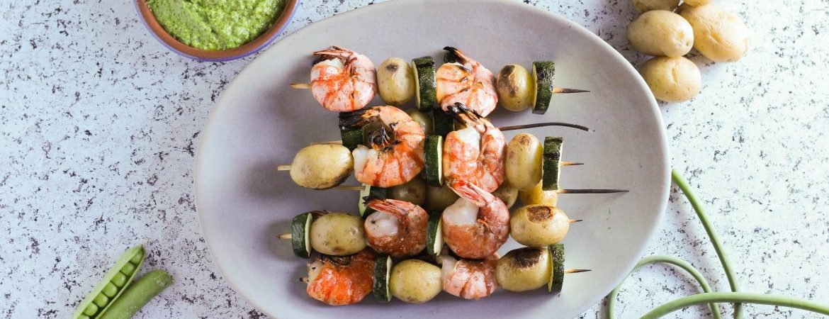 Potato and Shrimp Skewers with Green Pea Pesto