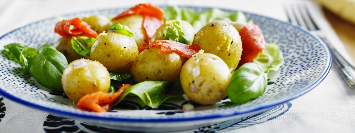 Potatoes with Smoked Salmon and Basil