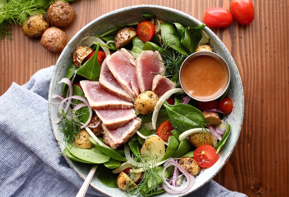 Ahi Tuna Winter Salad With Creamy Balsamic Dressing