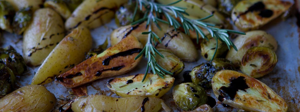 Balsamic Roasted Fingerling Potatoes and Brussels Sprouts