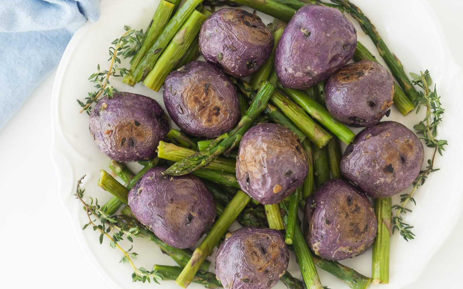 Garlic Roasted Potatoes with Thyme and Asparagus