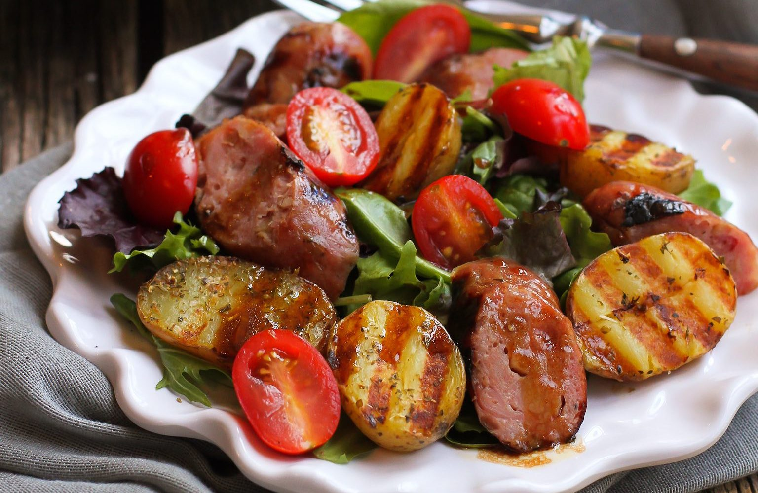 Grilled Sausage, Potato, and Mixed Green Salad