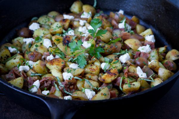Healthy Potato Hash with Prosciutto and Goat Cheese