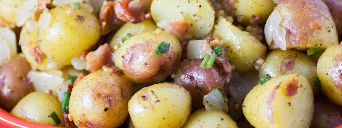 Hot German Potato Salad with Bacon and Green Onion