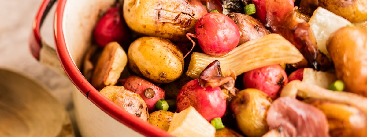 Roasted Chilean Splash Potatoes with Radishes, Fennel, and Prosciutto