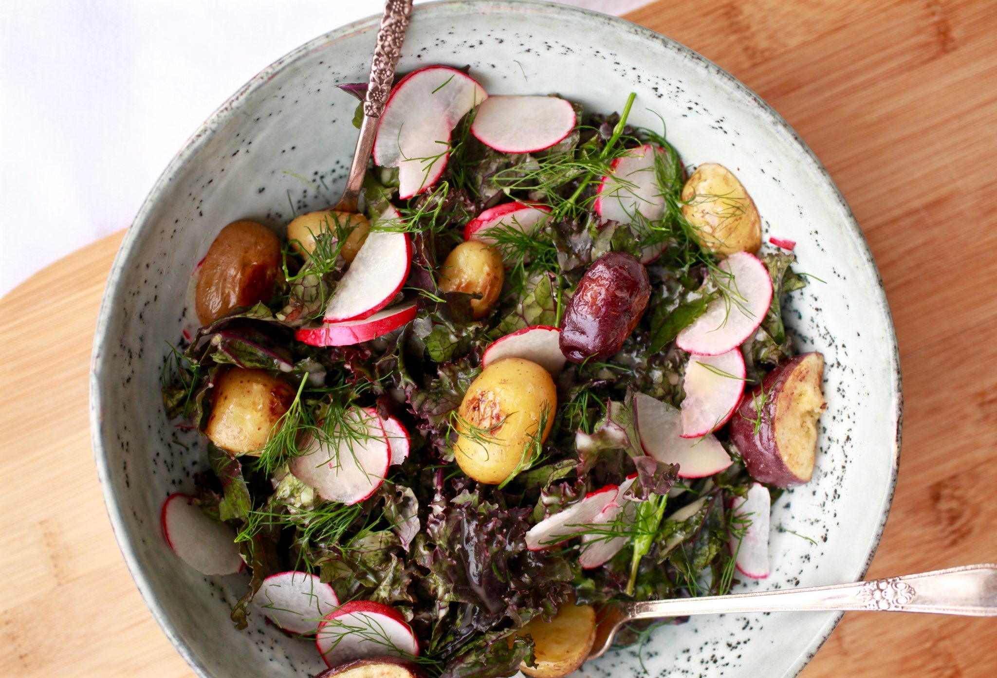 Red Kale and Potato Salad with Lemon Maple Dijon Dressing - The Little Potato Company
