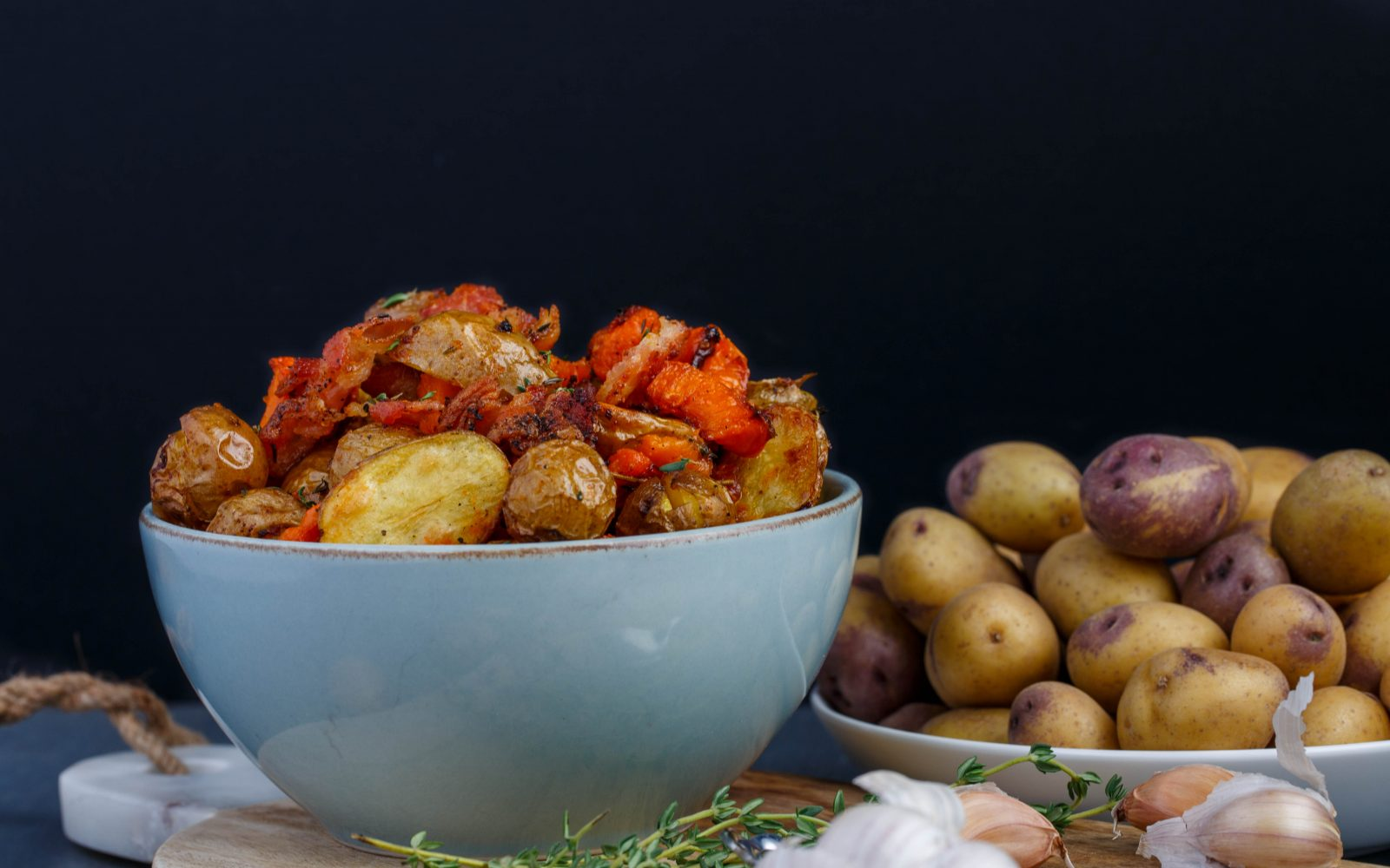 Roasted Thyme Little Potatoes with Bacon