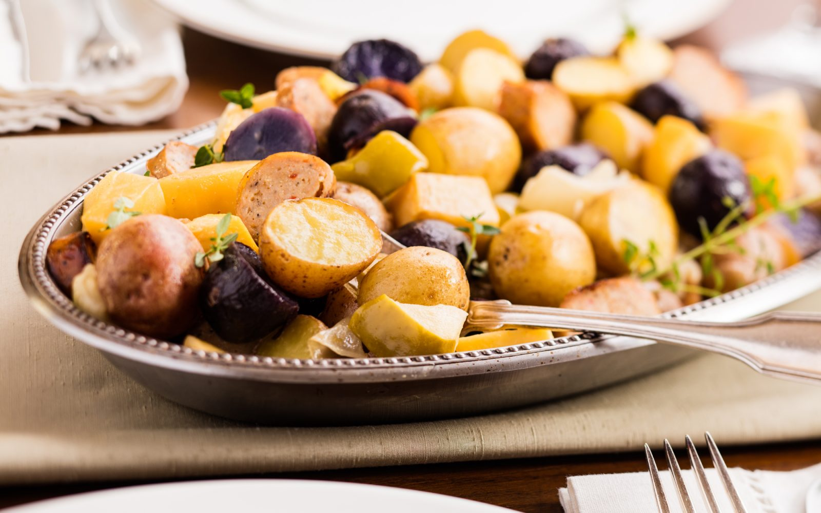 Sausage and Potatoes with Roasted Apples