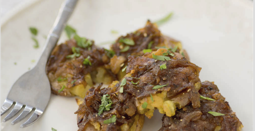 Smashed Little Potatoes with Shallot Dressing