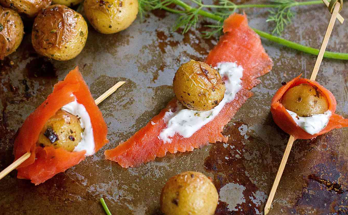 Roasted Little Potato and Smoked Salmon Skewers