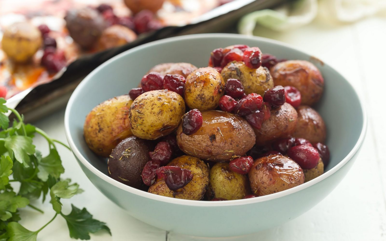 Spiced Roasted Potatoes and Cranberries