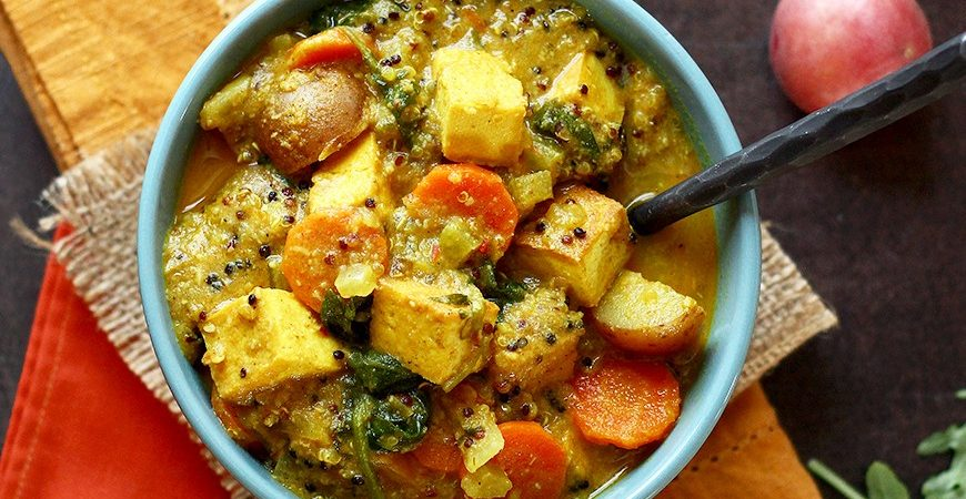 Coconut Curry Spicy Potato Soup with Tofu