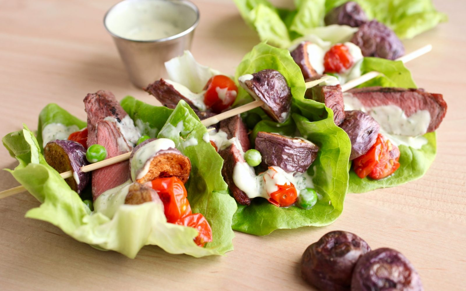 Steak and Blues Salad Boats with Dilly Avocado Ranch Dressing