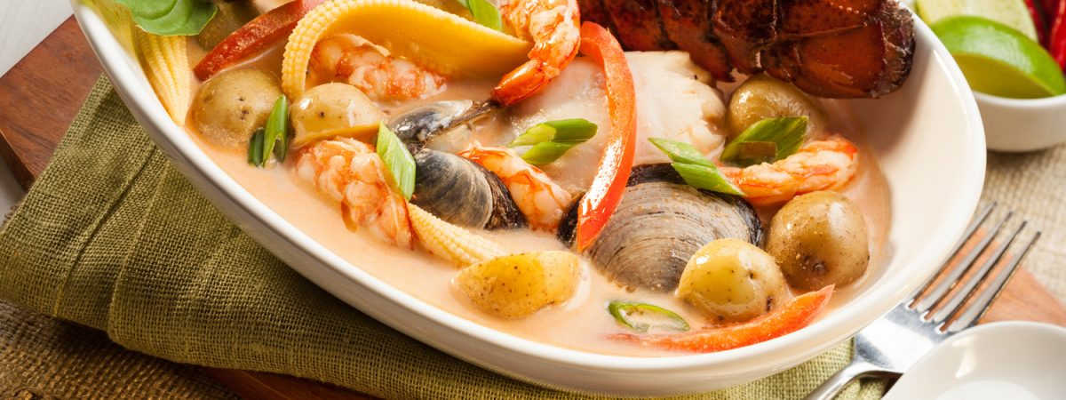 Thai Soup with Seafood and Little Potatoes