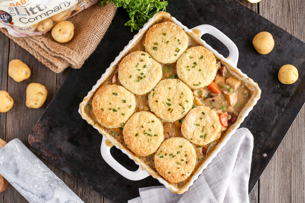 Little Potato and Vegetable Pot Pie with Vegan Biscuits