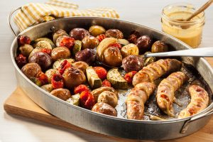 Maple Glazed Sausage and Little Potatoes