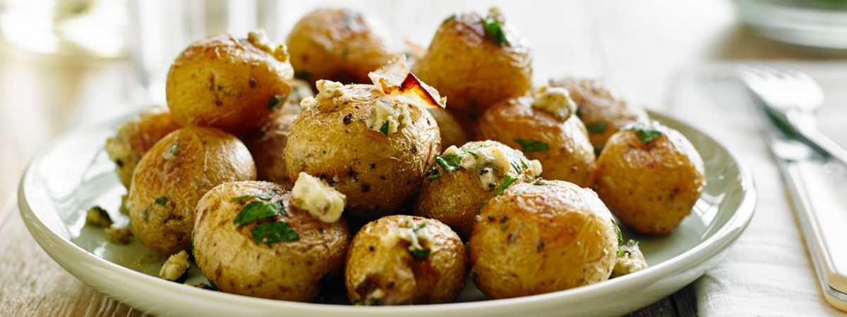 Roasted Potatoes and Onions with Blue Cheese